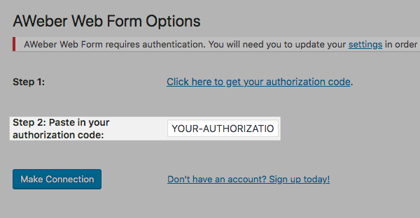 Paste the authorization code