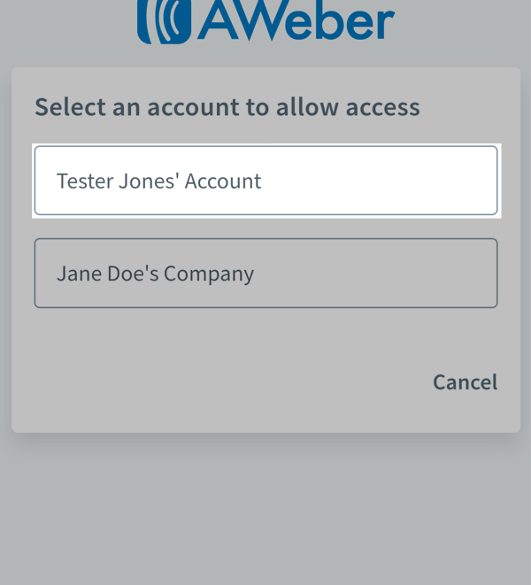 Select account
