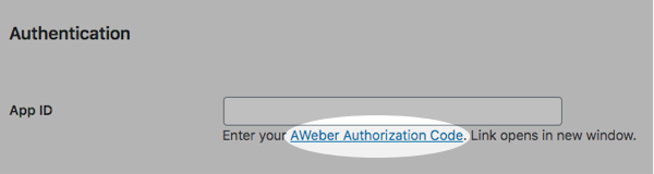 AWeber Authorization Code link
