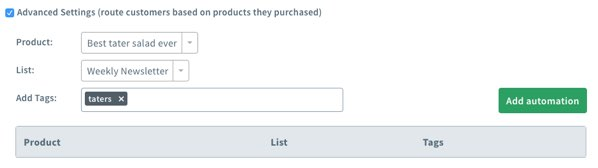 Configure specific product actions