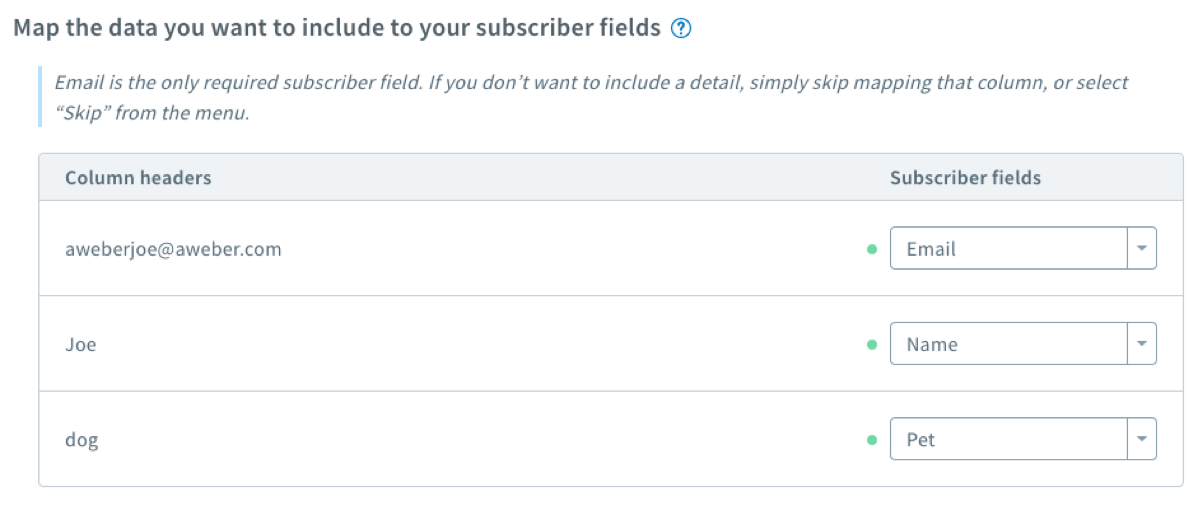 Map subscriber fields