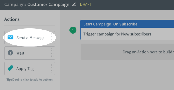 Send Message action under Actions toolbar on left-hand sidebar