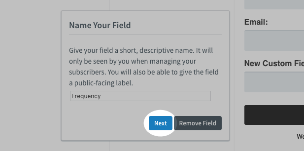 Name custom field Frequency