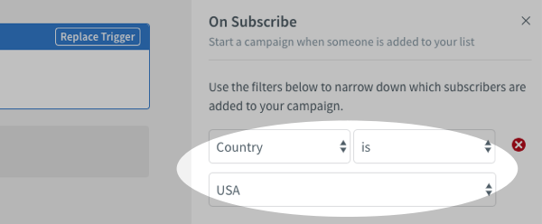 On Subscribe filter set to Country