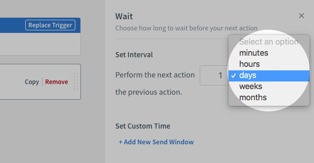 Wait action duration dropdown menu under Wait action settings on right-hand sidebar