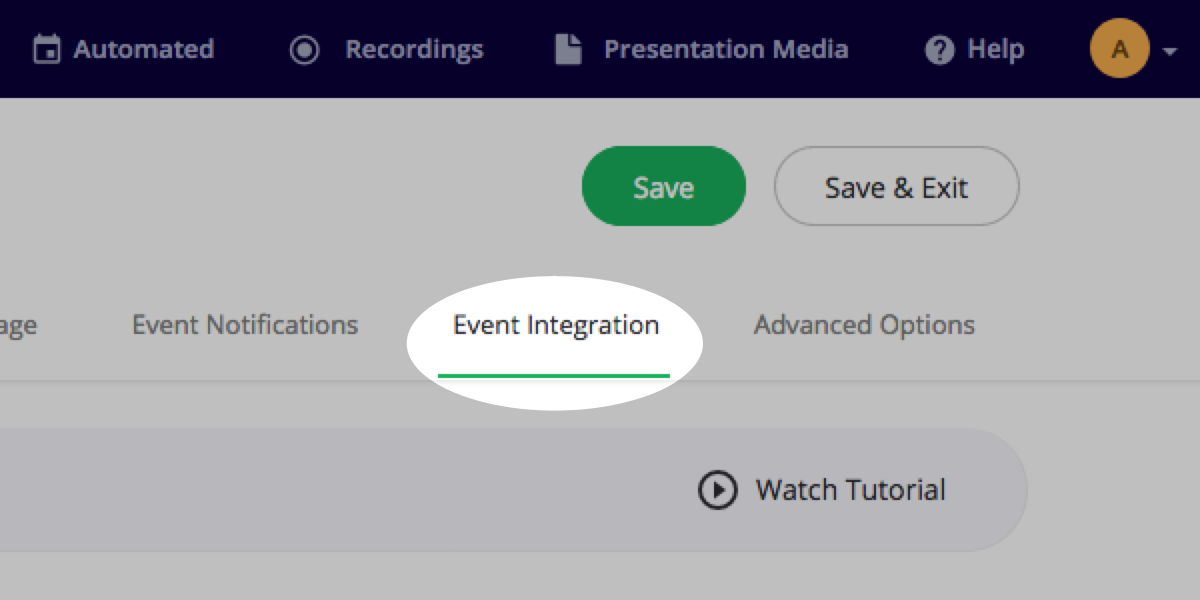 Navigate to Event Integration section