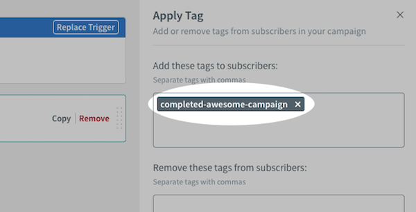 Add tag under Apply Tag action settings on right-hand sidebar