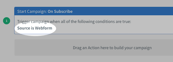 Selected On Subscribe filters displayed within campaign canvas