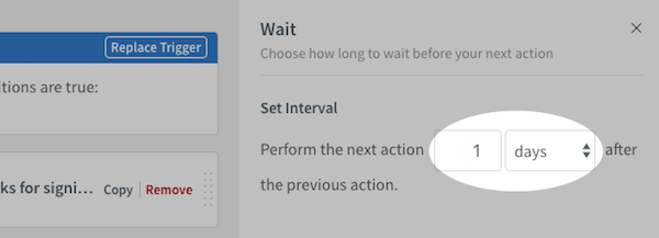 Change Wait action duration