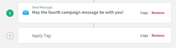 Add Apply Tag action to end of campaign