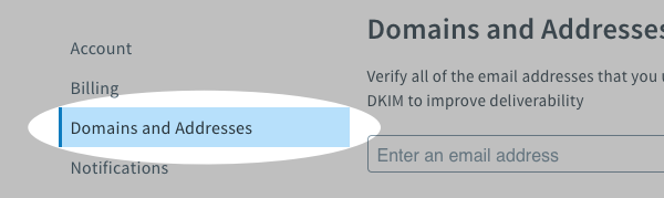 Domains and Addresses tab