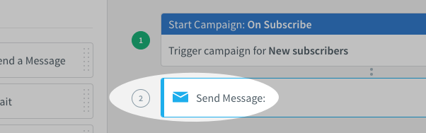 Send Message action on campaign canvas