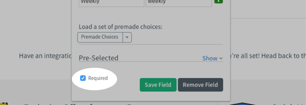 Required field checkbox
