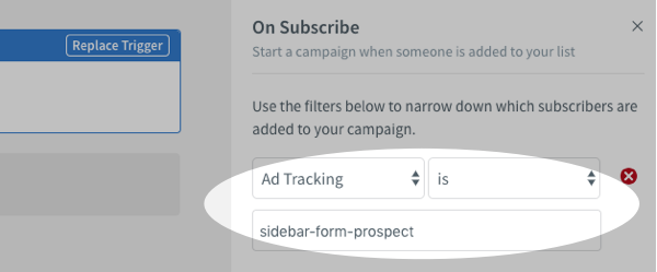 On Subscribe filter set to Ad Tracking