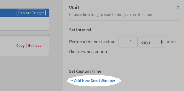 Add Send Window button