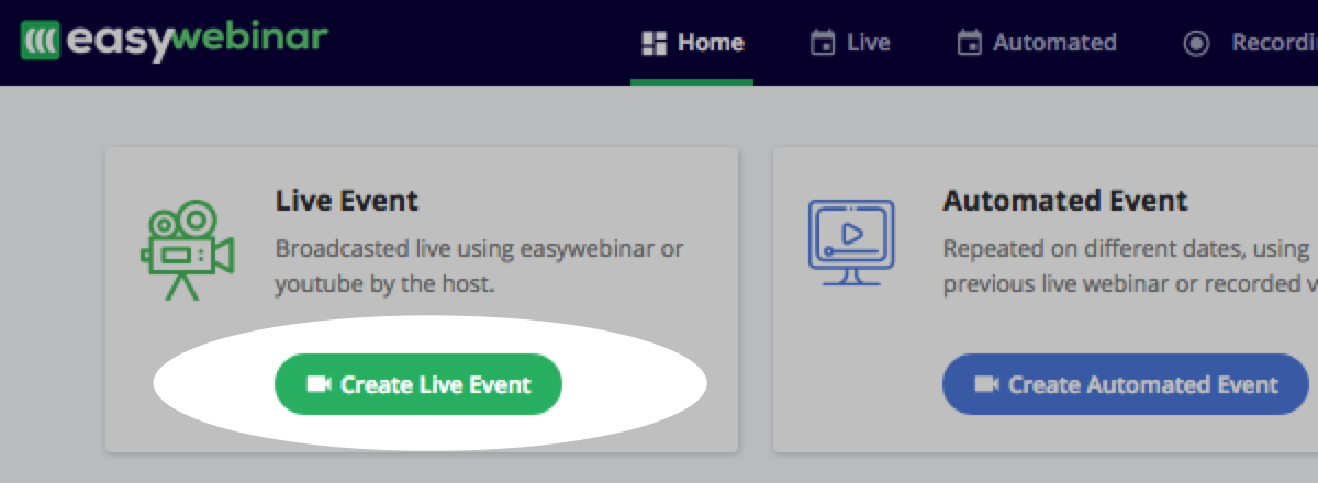 Create Live Event