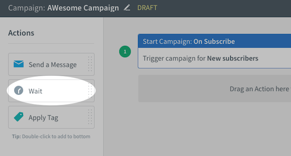 Wait action under Actions toolbar on left-hand sidebar