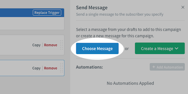 Choose Message button under Send Message settings on right-hand sidebar