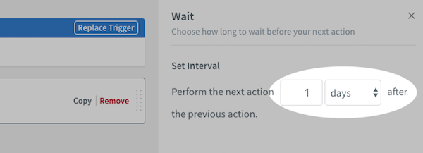 Wait Action settings found on right-hand sidebar