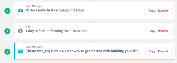 Send Message action updated with subjectline of chosen message