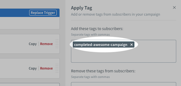 Apply Tag settings on right-hand sidebar
