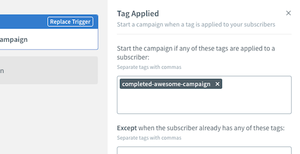 Tag Applied settings on right-hand sidebar