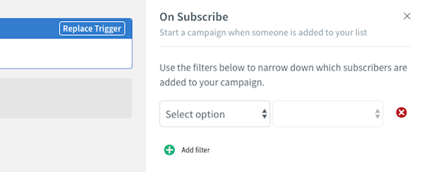 On Subscribe filter settings on right-hand sidebar