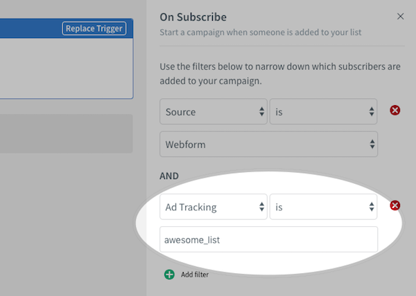 Multiple On Subscribe filter options set up