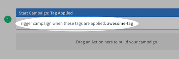 Tag Applied settings displayed within campaign canvas