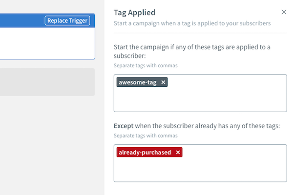 Remove subscribers from campaign using tags