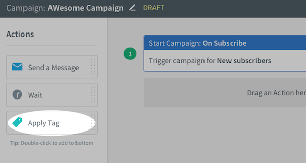 Apply Tag action within Actions toolbar