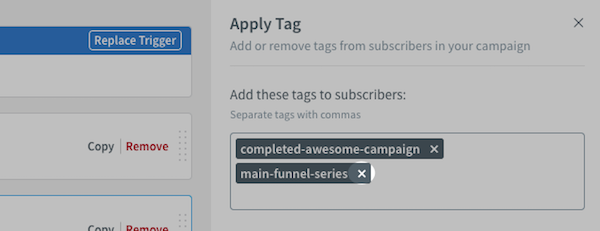Remove tag from Apply Tag setting