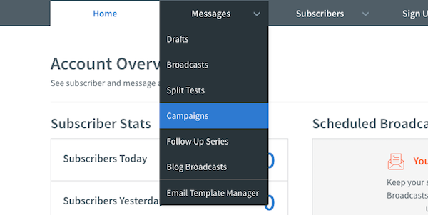 Select Campaigns under Messages
