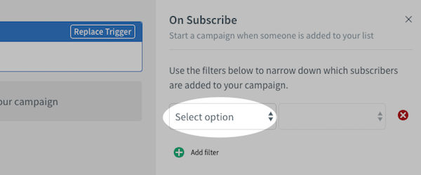 Select filter option