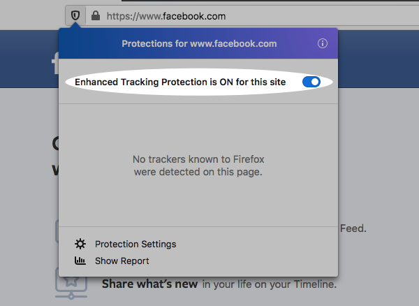 Enhanced Protection Tracking toggle