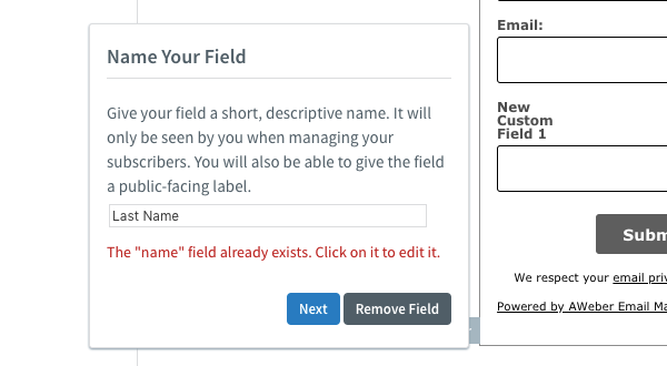 Name field error message
