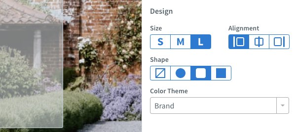 View styling options in Design section