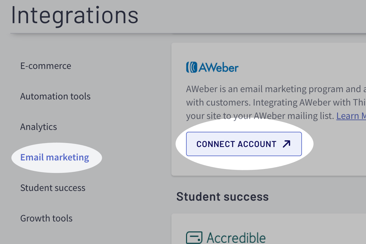 Connect AWeber account