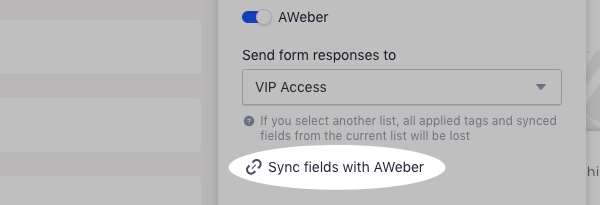 Click Sync fields with AWeber