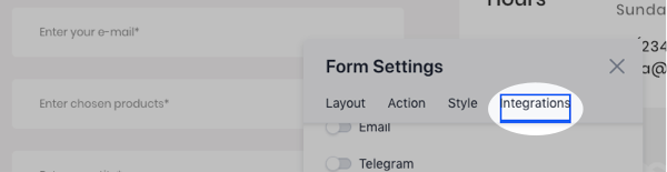 Form Settings box