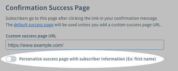 Enable succes page toggle