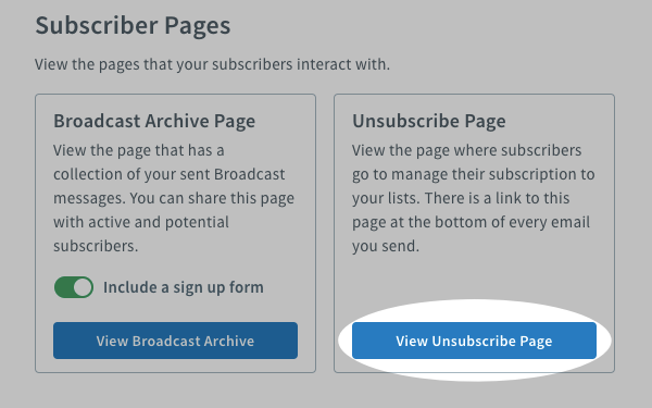 View unsubscribe page