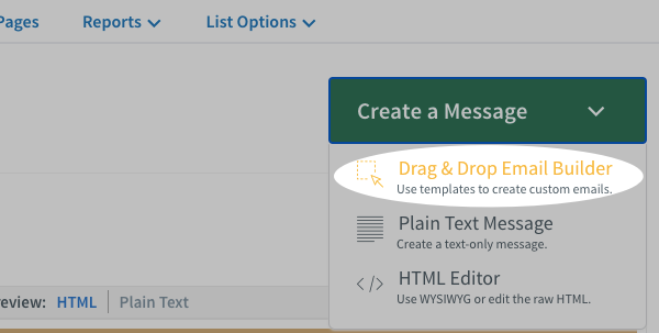 Choose the drag and drop editor