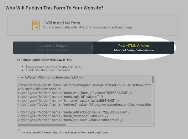 Obtain Sign Up Form HTML Code