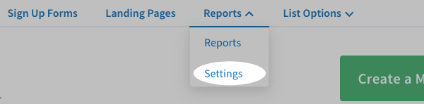 Click Settings tab