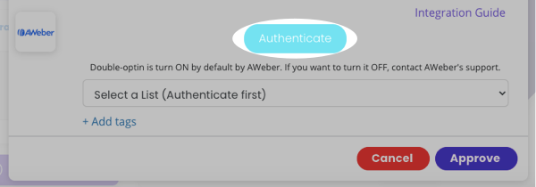 Click Authenticate