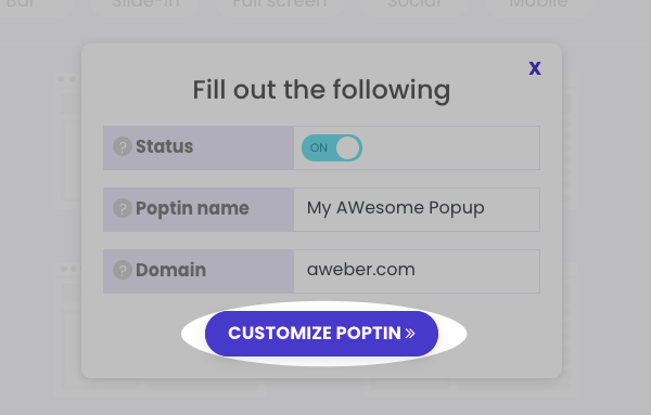 Click Customize Poptin