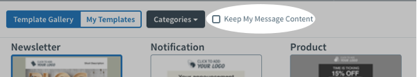 Keep my message content checkbox
