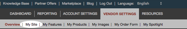 Click Vendor Settings and then click My Site