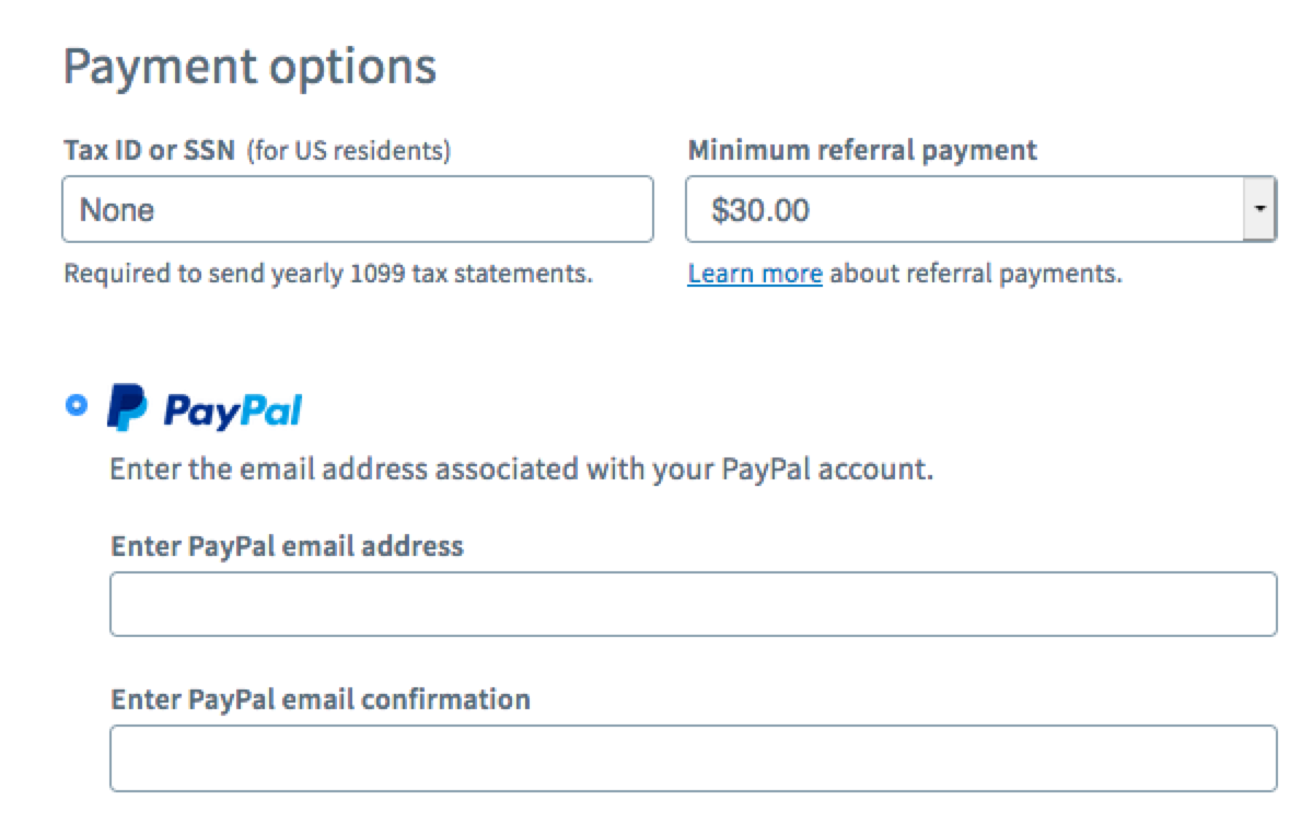 Enter PayPal account information